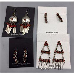 4 Pair Coral Earrings