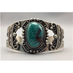 Turquoise and Sterling Bracelet - B. Johnson