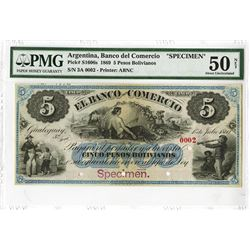 El Banco Del Comercio, 1869 Specimen Banknote with Serial #0002.