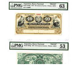 Banco Nacional. 1873, 40 Centavos Fuertos Proof Face & Back Banknotes.