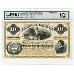 Banco Nacional. 1873, 10 Pesos Fuertos uniface Front Proof.