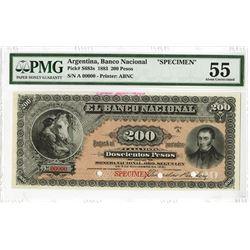 Banco Nacional, 1883 Specimen Banknote.