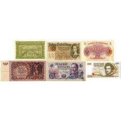 Austria Banknote Assortment ca.1930-1970's.
