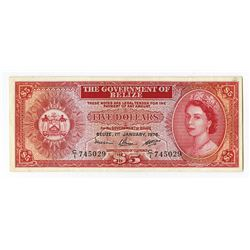 Government of Belize, 1976 Issue Banknote.