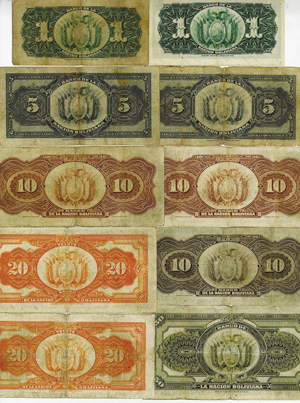 BOLIVIA LOT  5x 1 BOLIVIANO 1911 OVERPRINTED FINE CONDITION