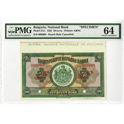 Banque Nationale de Bulgarie, 1922 Specimen Banknote.