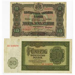 Bulgaria National Bank, 1919 & Germany D.R. 1948 Notes.
