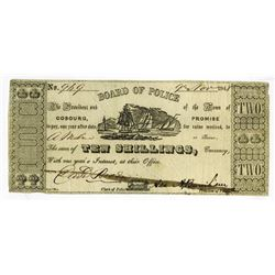 Board of Police, Town of Cobourg, 1848 Issued Obsolete Banknote.