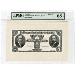 La Banque Provinciale Du Canada, 1919 Proof Banknote.
