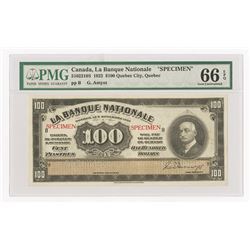 La Banque Nationale, 1922 Issue Specimen Note.