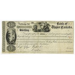 Bank of Upper Canada, ND ca.1830's Unissued 3rd of Exchange.