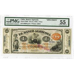 Banco Agricola, ND (ca.1870) Specimen Banknote.