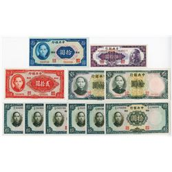 Central Bank of China, 1936 to 1948 Issue Banknote Assortment.