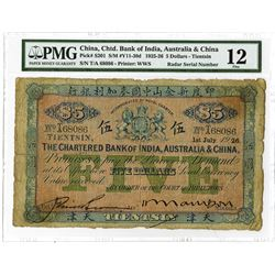 "Chartered Bank of India, Australia & China, 1926 ""Tientsin Branch"" Issued Banknote With RADAR Serial"