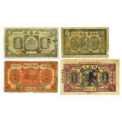 China Private & Local Banknote Quartet, ca. 1920-1940.