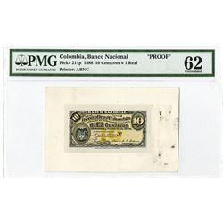 Banco Nacional de La Republica de Colombia, 1888 10 centavos Proof Banknote.