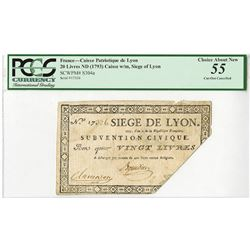 Caisse Patriotique de Lyon, ND (1793), Issued Siege of Lyon Note.