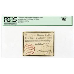 French Revolutionary Army, 1793, Issued Siege of Mainz Note.