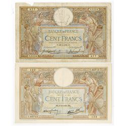 Banque De France, 1918 and 1939 Banknote Pair.