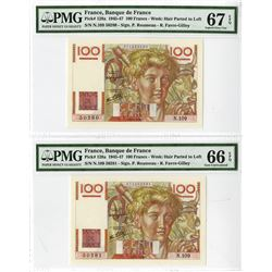 Banque de France, 1946 High Grade Sequential Banknote Pair.
