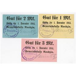 Rosdzin, 1914 Emergency Currency / Notgeld Trio.