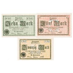 Wernigerode 1918 Notgeld Banknote Trio.