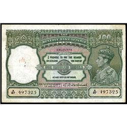 Reserve Bank of India, ND (1943)  Calcutta  Issue Banknote.