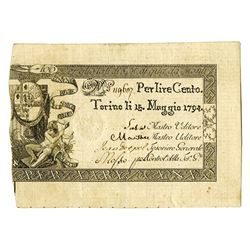 Kingdom of Sardinia, 1794, Issued High Grade Note