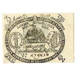 Prima Repubblica Romana, 1798, Issued Assignat Note