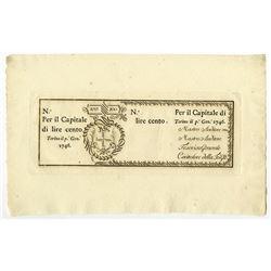 Regie Finanze-Torino, 1746 Issue Banknote.