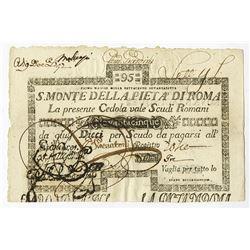 S. Monte Di Pieta A' Di Roma, 1792 Issue Banknote.