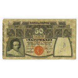 Banco Di Napoli, 1909, 50 Lire Issued Banknote.