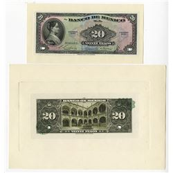 Banco De Mexico, 1954 Issue Banknote Proof.