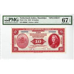 Nederlandsch-Indie, Muntbiljet, 1943 Specimen Banknote.