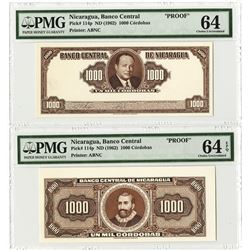 Banco Central De Nicaragua ND (1962) Face & Back Progress Proof Banknote Pair.