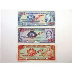 Banco Central De Nicaragua, 1972-79 Specimen Banknote Trio.