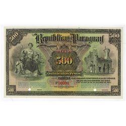 Republica Del Paraguay, ND (1920-23) Specimen Banknote.