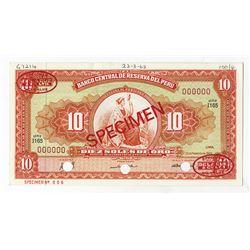 Banco Central De Reserva Del Peru, 1968 Specimen Banknote.