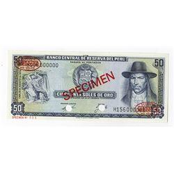 Banco Central De Reserva Del Peru, 1974 Specimen Banknote.