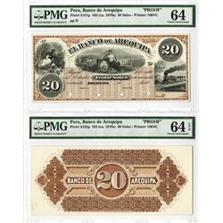 Banco De Arequipa, ND (ca.1870's) Uniface Front and Back Proof Banknotes.