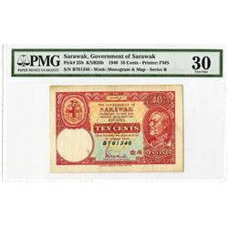 Government of Sarawak 1940 Emergency Fractional Issue Banknote