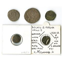 Italy, 1534-1559, Quintet of Early Coins issued under Ercole II, 4th Duke of Modena.