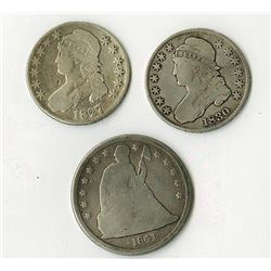 Bust and Seated Coinage group, 1827/6 (faint) and 1830. Silver Dollar 1841.