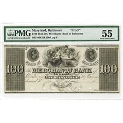 Merchants Bank, Baltimore, ca.1830's Obsolete Proof.
