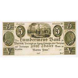 Lumbermans Bank, ca.1830-40's Remainder Obsolete Banknote.