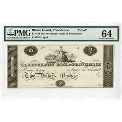 Merchants' Bank in Providence, ca. 1810-1820's Proof Obsolete Banknote.