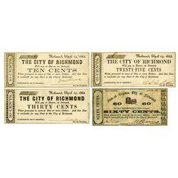 City of Richmond 1862 Banknote Quartet.