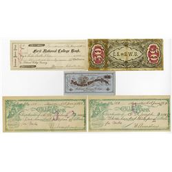 College Bank & Currency Assortment ca.1880's to 1890's.