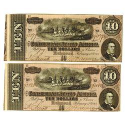 C.S.A., 1864 Lot of 2 $10 Notes T-68, Both AU to Choice AU and Sequential Serial Numbers.