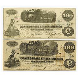 C.S.A., $100, 1862 Lot of 2 notes, T-39 and T-40.